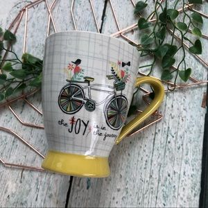 Other - 3/$25 joy journey bicycle mug coffee cup spring